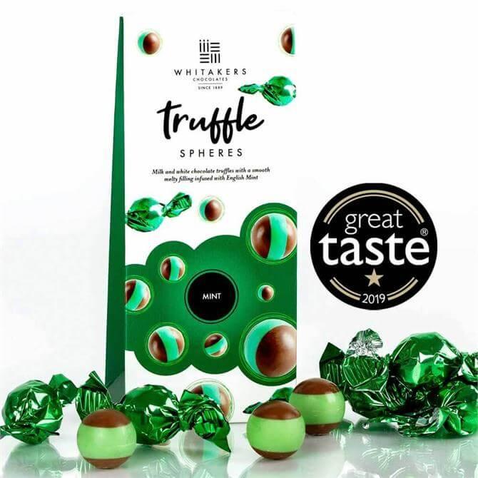 Whitakers Milk & White Chocolate Truffle Spheres Mint 100G
