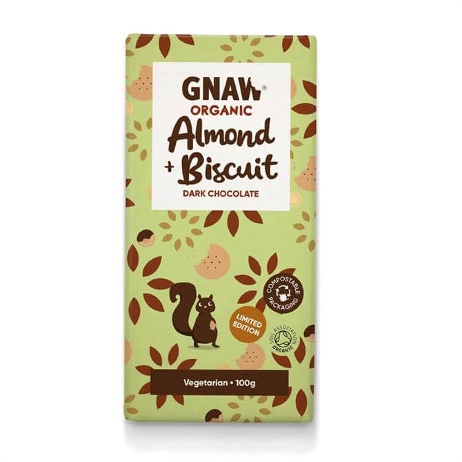 Gnaw Organic Almond & Biscuit Dark Chocolate Bar 100g