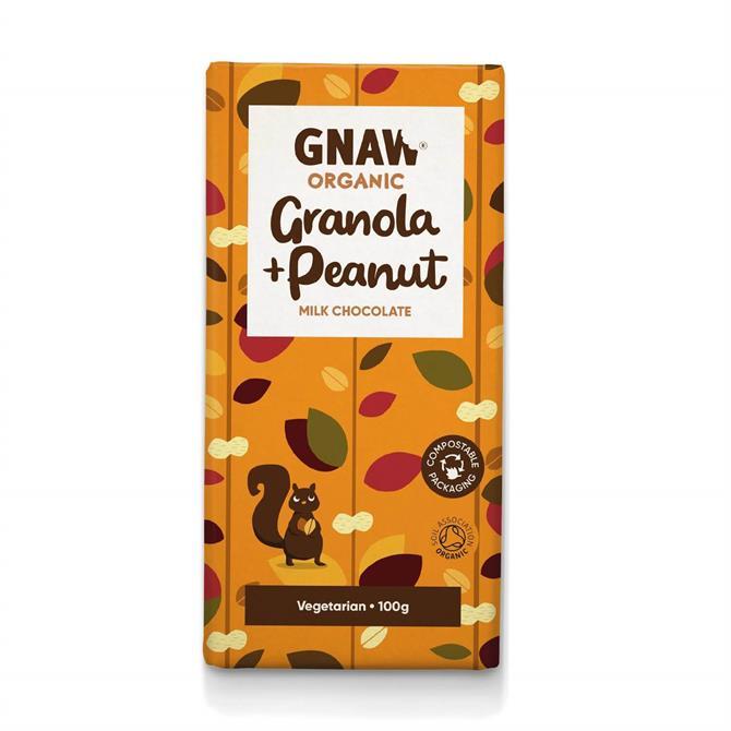 Gnaw Organic Granola & Peanut Milk Chocolate Bar 100g