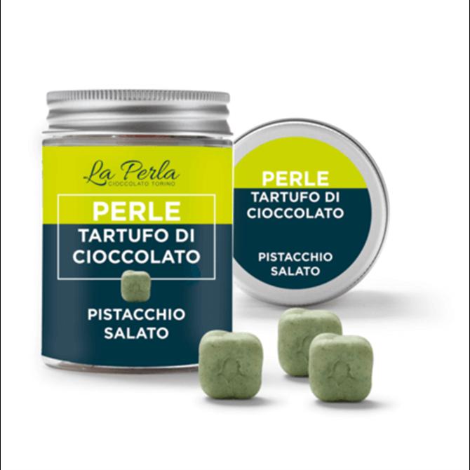 La Perla Salted Pistachios Chocolate Pearl Truffles 50g