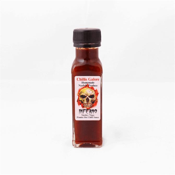 Chillis Galore Inferno Smokey Naga Flamin Hot Chilli Sauce 110ml Bottle