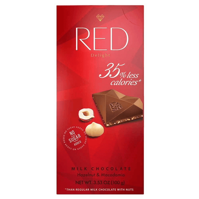 RED Sugar Free Exclusive Hazelnut and Macadamia Milk Chocolate 100g