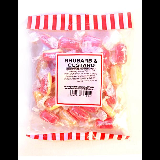 Monmore Rhubarb & Custard Flavoured Hard boiled Sweets 225g