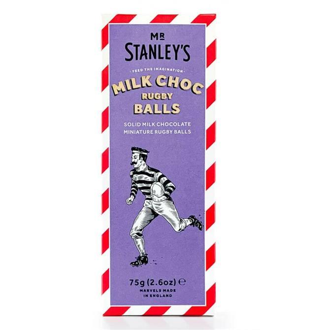 Mr Stanley's Solid Milk Chocolate Rugby Balls 75g