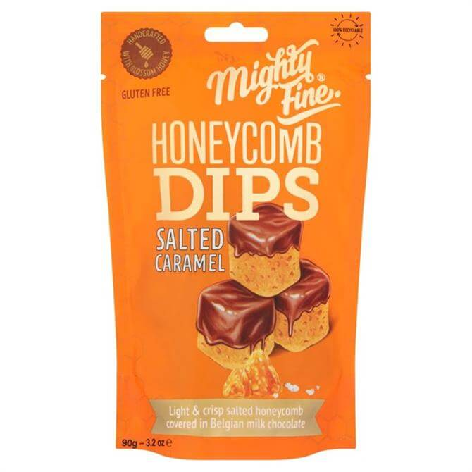 Mighty fine Milk Chocolate Light & Crispy Salted Caramel Honeycomb Dips 90g