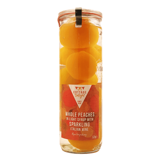 Cottage Delight Whole Peaches in Light Syrup with Sparkling Italian Wine 575g