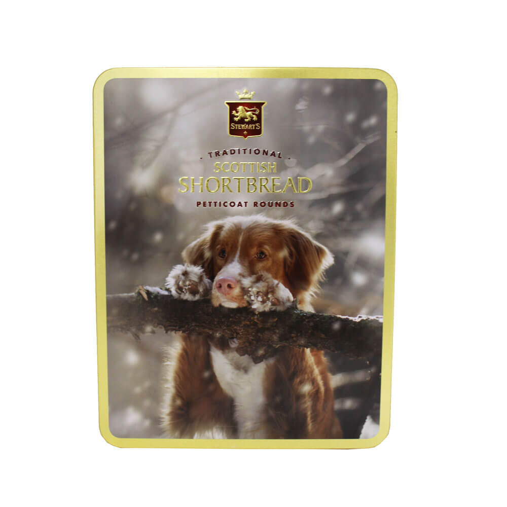 An image of Stewarts Traditional Shortbread Biscuit Rounds Tin Dog