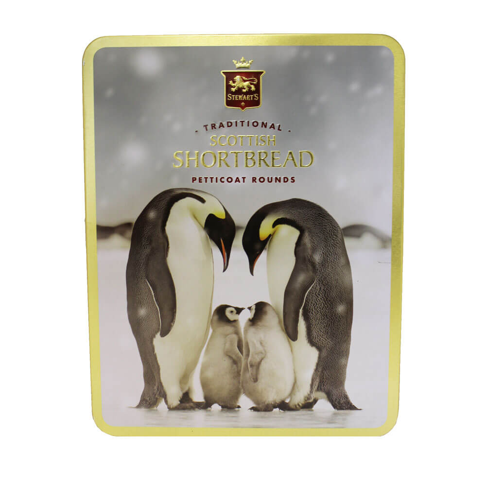An image of Stewarts Traditional Shortbread Biscuit Rounds Tin Penguin