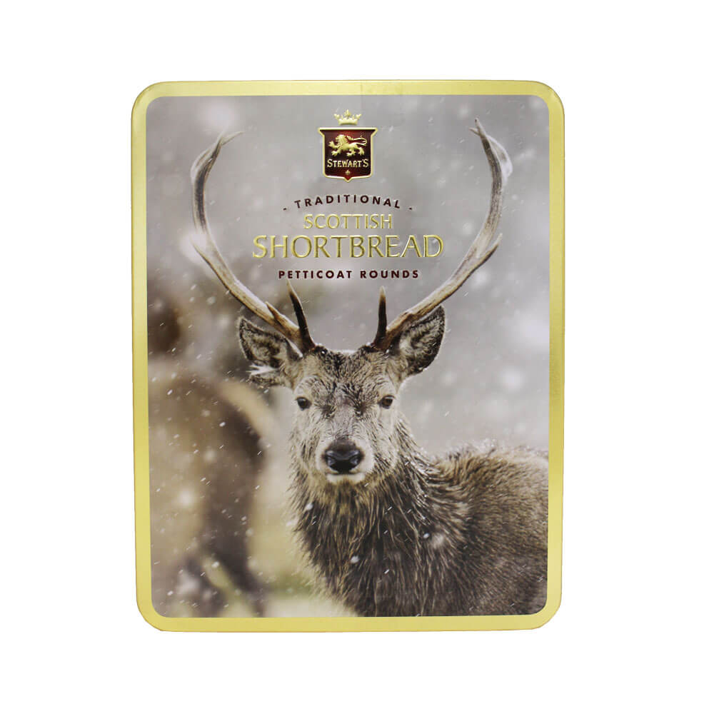 An image of Stewarts Traditional Shortbread Biscuit Rounds Tin Stag