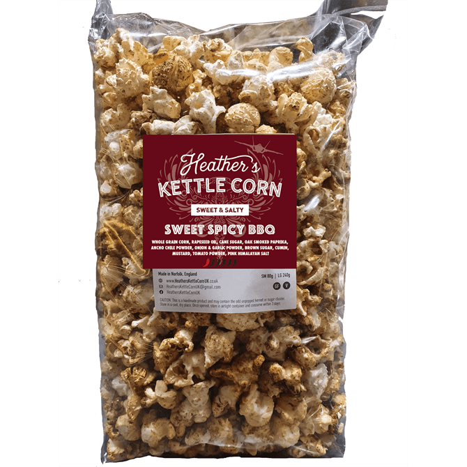 Heathers Kettle Corn Sweet Spicy BBQ Large 240g