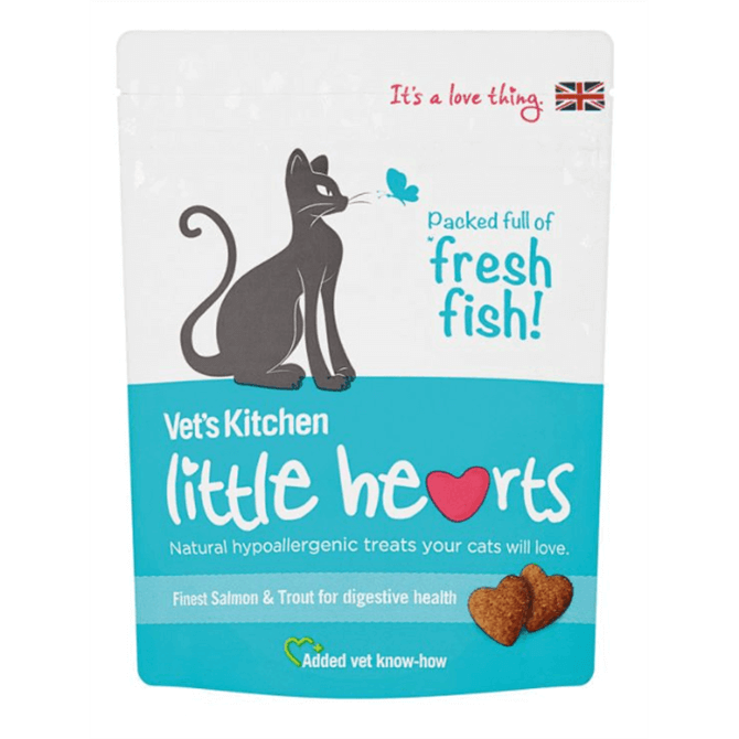 Vets Kitchen Little Hearts Salmon & Trout Cat Treats 60g