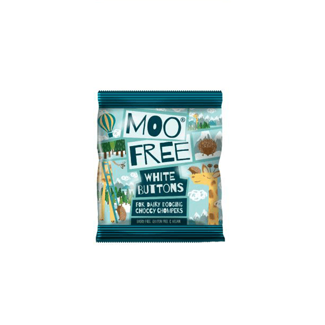 Moo Free White Chocolate Buttons 25g