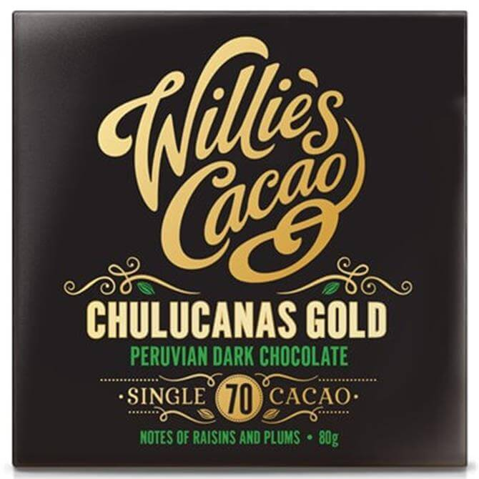 Willie's Cacao Gluten Free Chulucanas Gold Peruvain Dark Chocolate- Notes of Raisins and Plums 80g