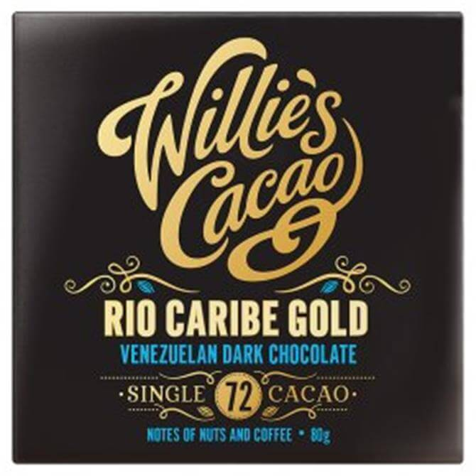Willie's Cacao Gluten Free Rio Caribe Gold Dark Chocolate with Notes of Nuts and Coffee 80g