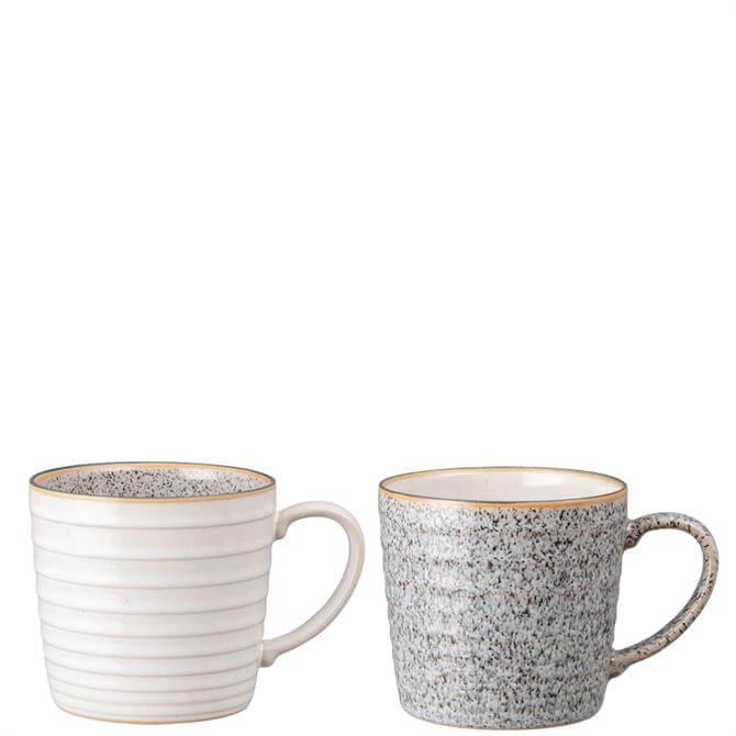 Denby Studio Grey 2 Piece Ridged Mug Set