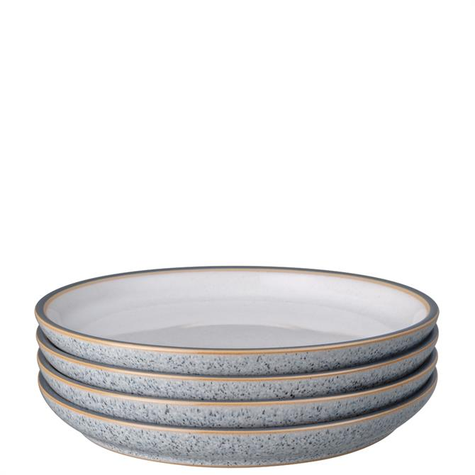 Denby Studio Grey 4 Piece White Medium Coupe Plate Set
