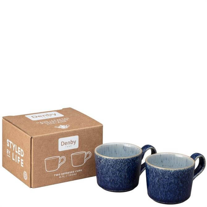 Denby Studio Blue Brew Set of 2 Espresso Cups