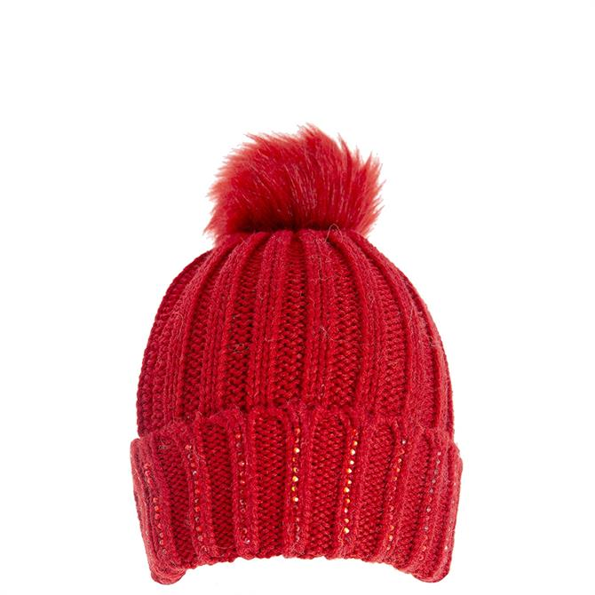Dents Ladies Diamante Knitted Hat with Faux Fur Pom Pom
