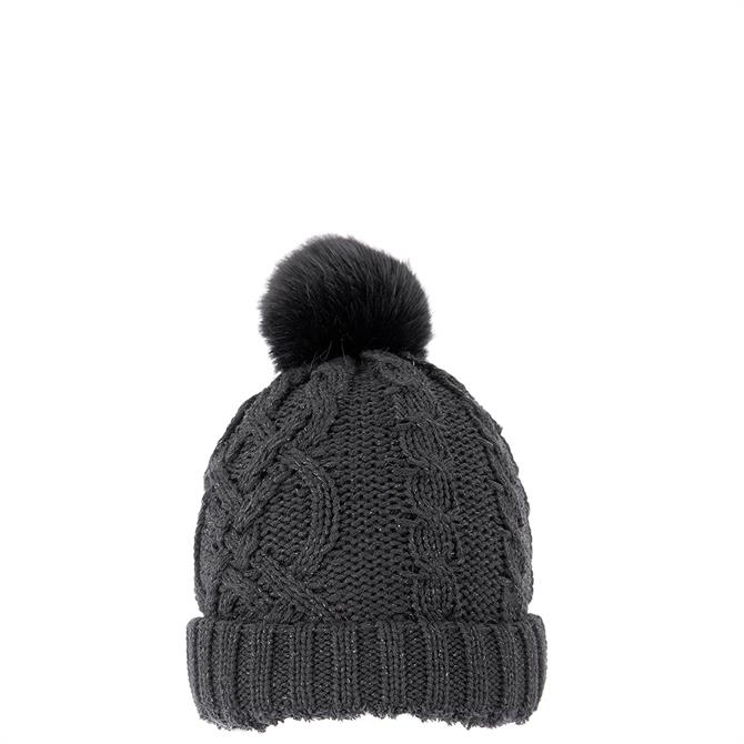 Dents Ladies Metallic Cable Knit Hat with Faux Pom Pom