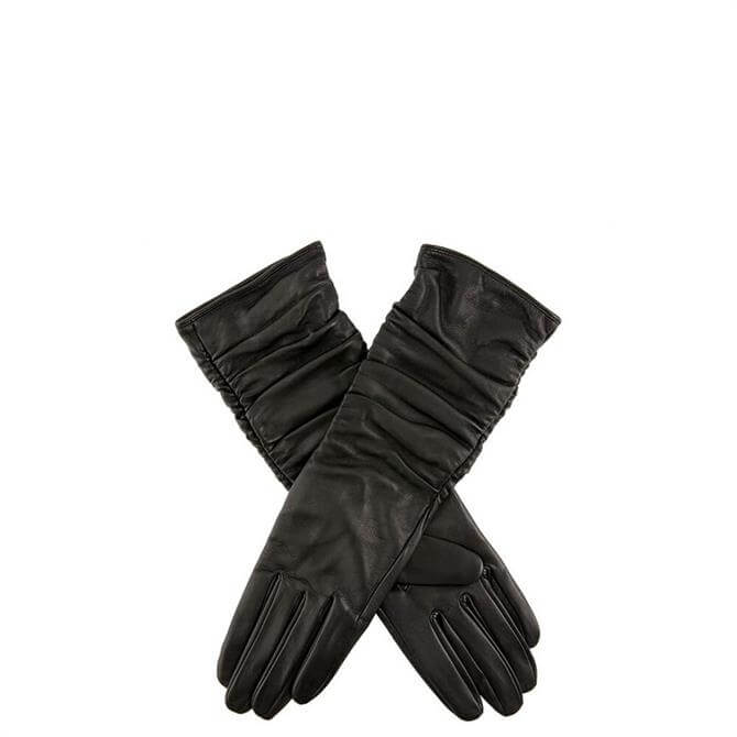 Dents Stella Ladies Black Ruched Leather Gloves