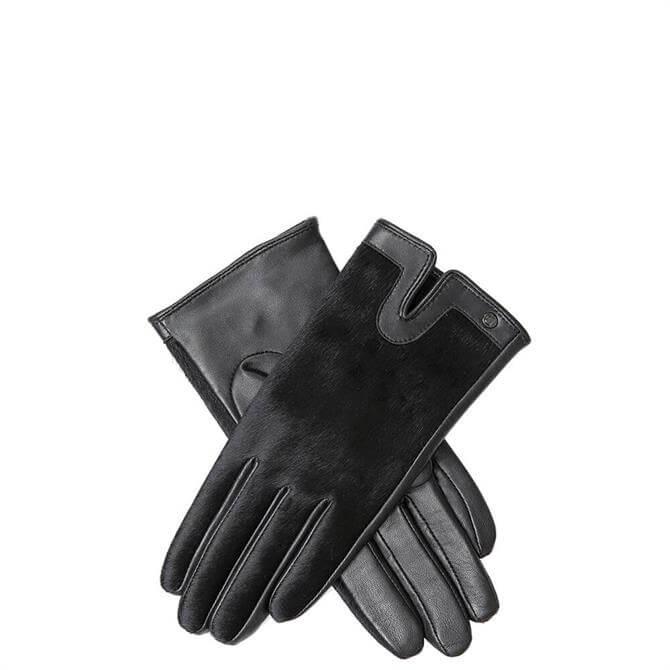 Dents Violet Black Ponyskin & Leather Gloves