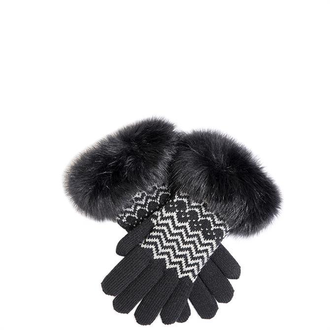 Dents Ladies Metallic Zig Zag Knitted Gloves
