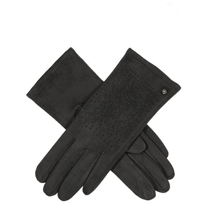 Dents Women's Touchscreen Faux Suede Beaded Black Gloves