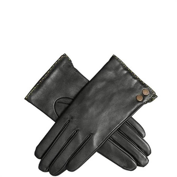 Dents Kimberly Women's Black Leather Gloves with Metallic Details