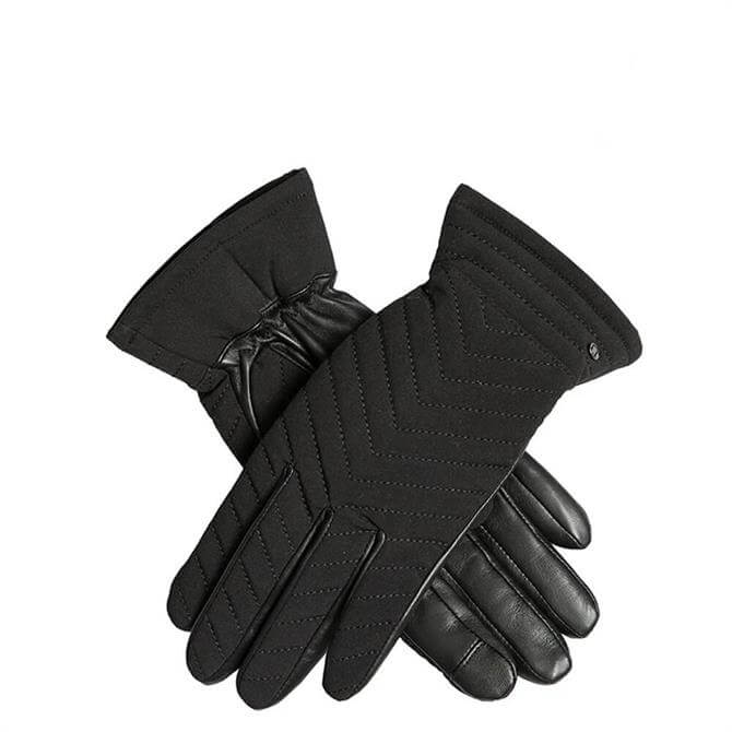 Dents Thea Women's  Quilted Fabric Gloves with Touchscreen Leather Palms