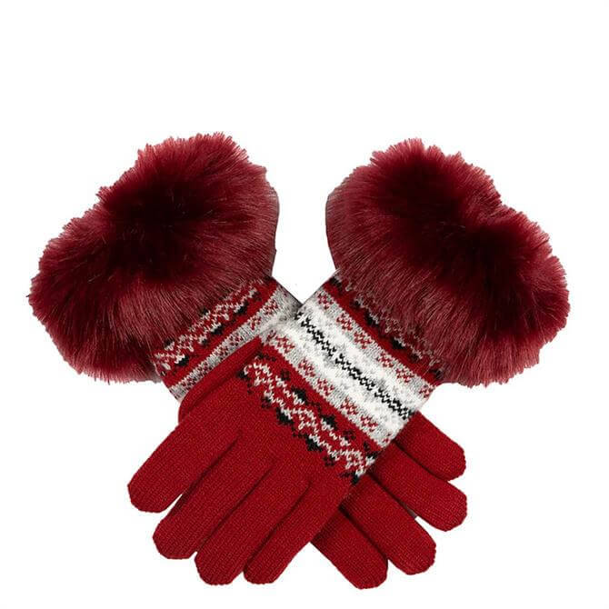 Dents Women's Fair Isle Knitted Gloves with Faux Fur Gloves