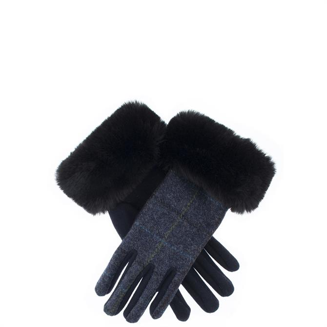 Dents Ladies Abraham Moon Fabric Back Gloves with Faux Fur Cuffs