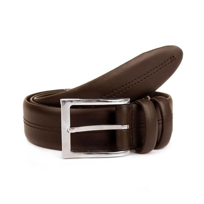 Dents Double Keeper Brown Leather Belt