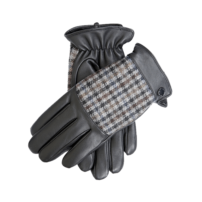 Dents Devon Faux Fur Lined Abraham Moon Dogtooth & Leather Gloves