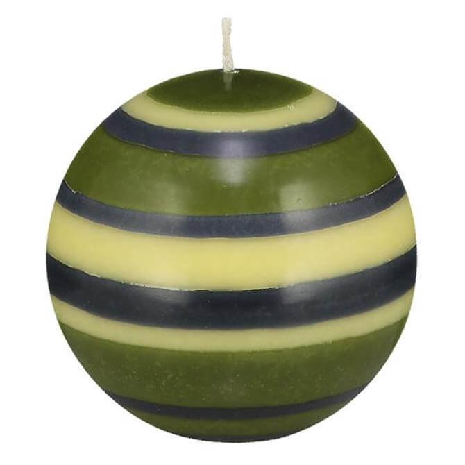 Designed In Colour Striped Ball Candle Small