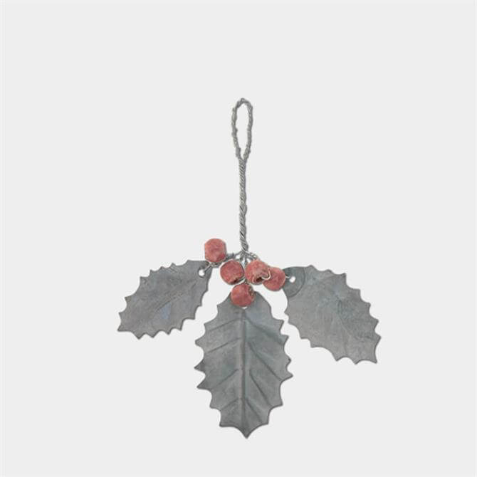 East of India Metal Holly Decoration
