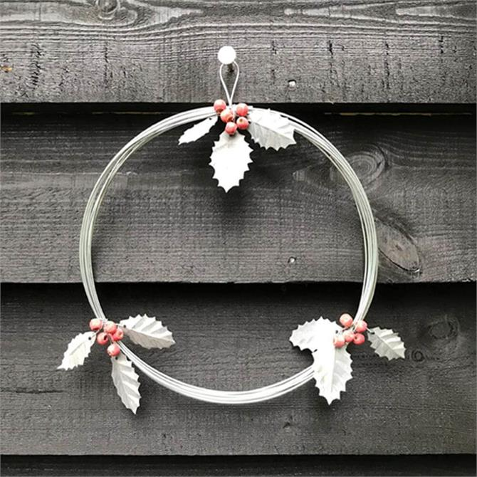 East of India Metal Wreath with Holly and Berries