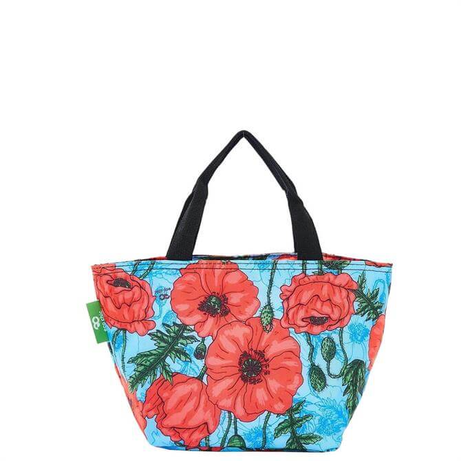 Eco Chic Lightweight Foldable Poppies Lunch Bag