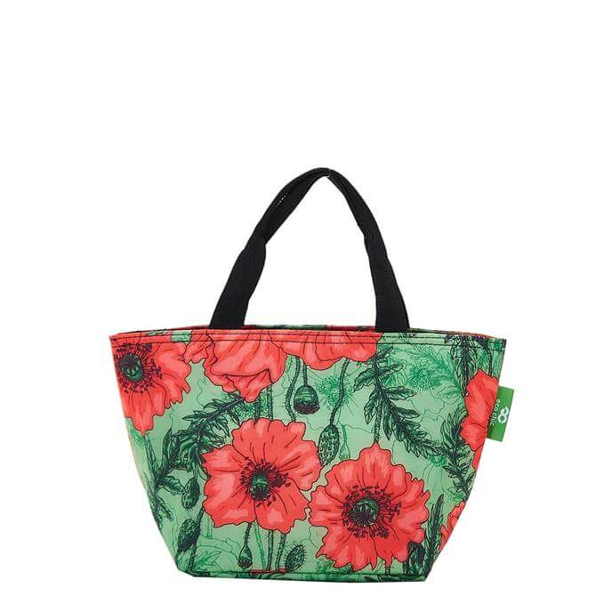 Eco Chic Lightweight Foldable Poppies Green Lunch Bag