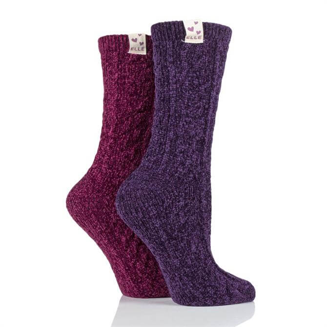 Elle Cable Knit Chenille 2pk Socks