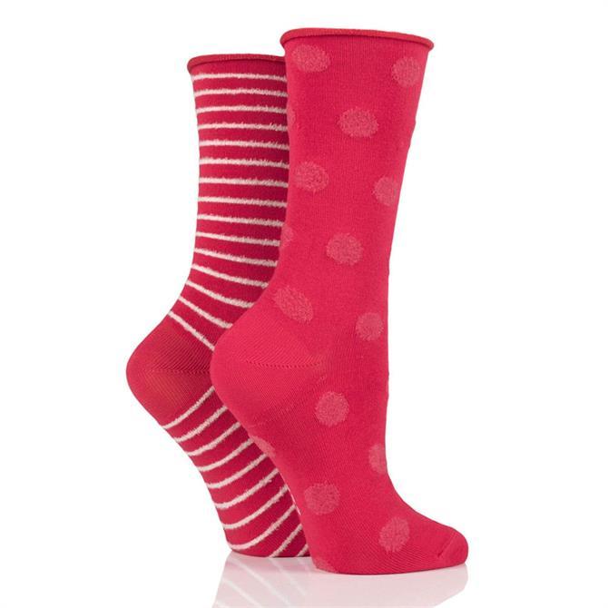 Elle Bamboo Feather Striped & Spot 2pk Socks