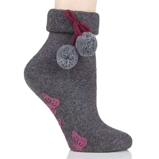Elle Wool Mix Pompom Socks