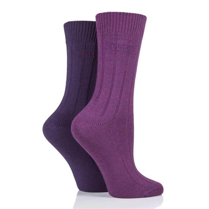 Elle 2pk Ribbed Bamboo Boot Socks