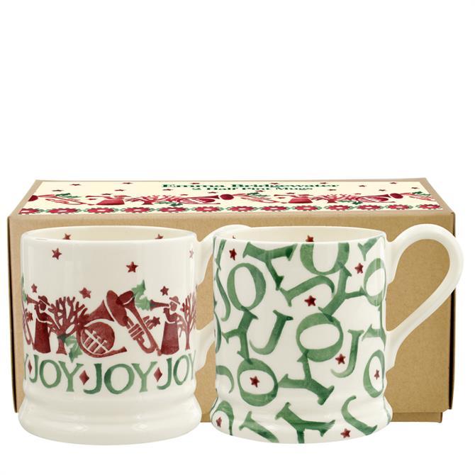 Emma Bridgewater Joy Trumpets Set of 2 Half Pint Mugs