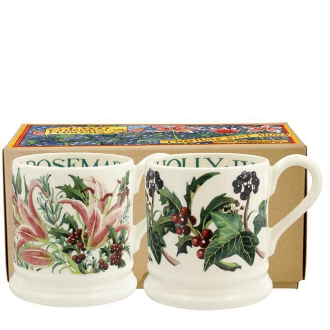 Emma Bridgewater Winter Flowers Set of 2 Half Pint Mugs