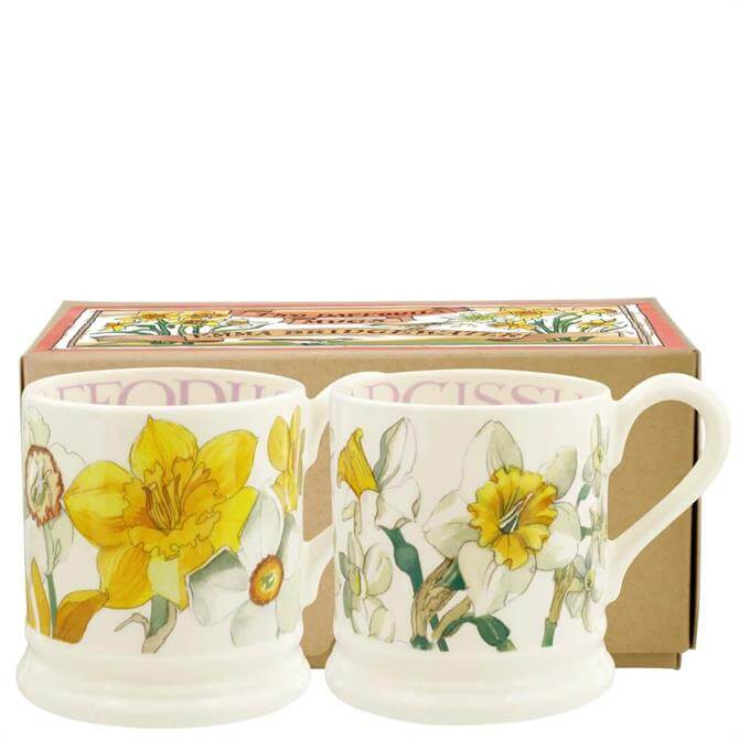 Emma Bridgewater Daffodils & Narcissus Set of 2 Half Pint Mugs