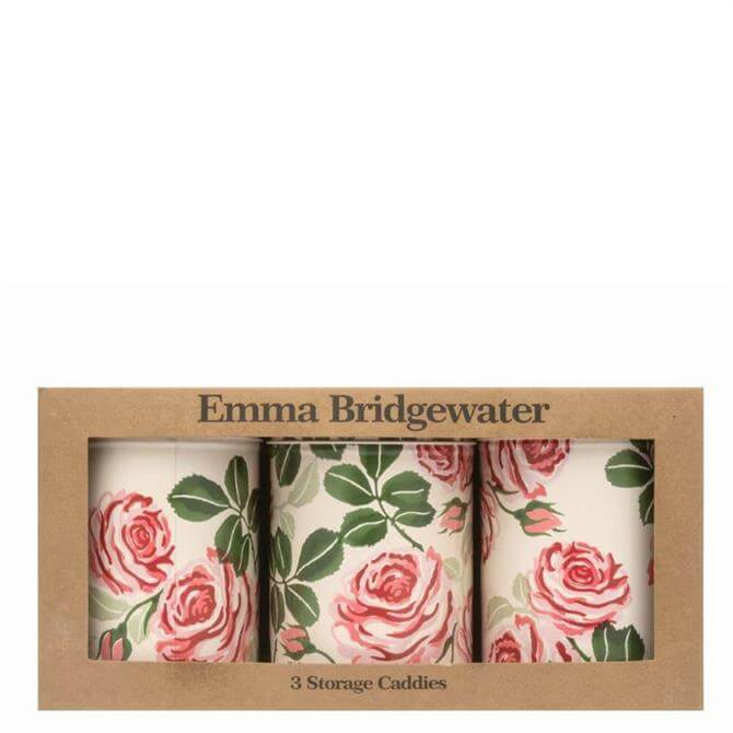 Emma Bridgewater Pink Roses Set of Three Tin Caddies