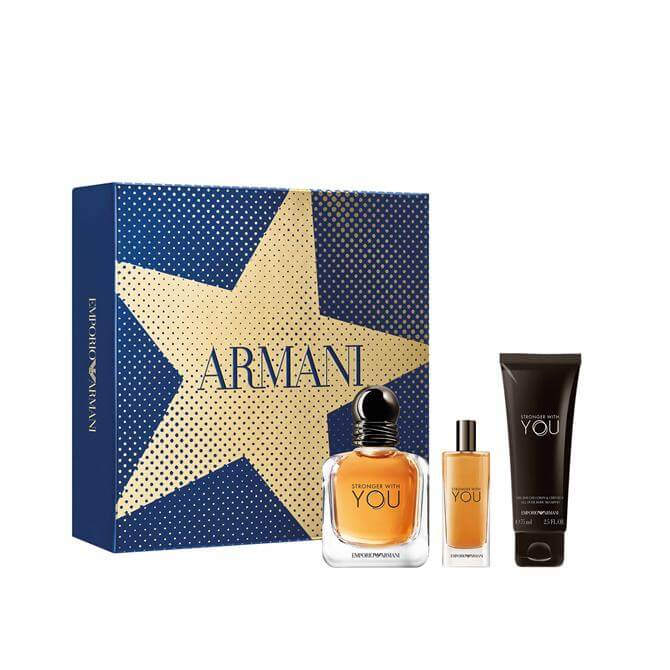 Emporio Armani Stronger With You Eau de Toilette + Travel Spray + Shower Gel Christmas Gift Set for Him