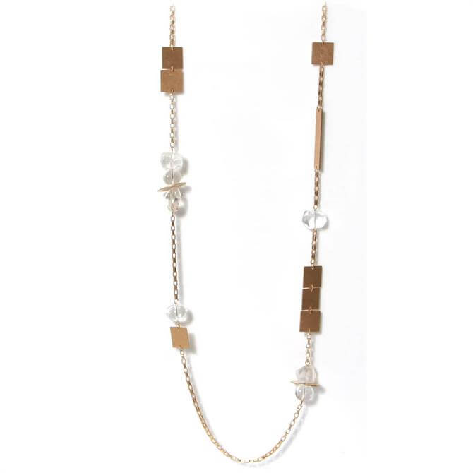 Envy Clear Beads and Golden Chain Necklace
