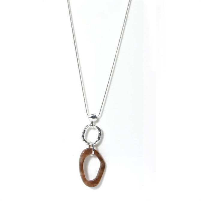 Envy Silver Chain Necklace with Brown Circle Pendant