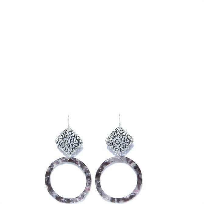 Envy Textured Silver Square Drop with Grey Circle Hoop Earrings